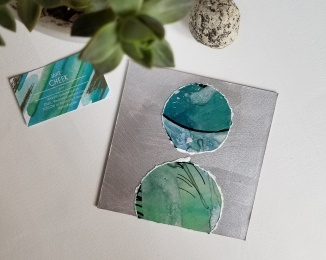abstract watercolor collage in green, blue and silver by Raleigh artist Jane Cheek