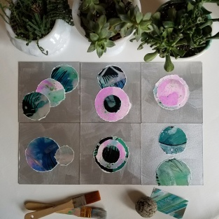 """minimalist abstract modern watercolor collage series by Raleigh Artist Jane Cheek - """"Orb Series"""" blue, green, purple, black, and silver"""