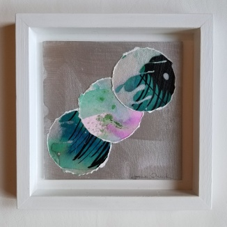 minimalist art by Jane Cheek - blue green and lavendar watercolor circle collage on silver