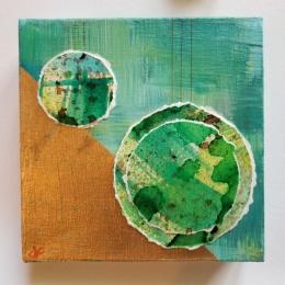 green and gold orb original modern contemporary wall art by Jane Cheek